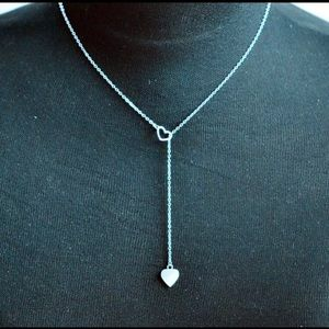 NWT Two Hearts Stainless Steel Choker.